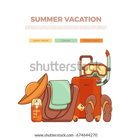 Summer Vacation Beach Icon Collection Summertime Tropical Accessories Vector Design Elements Sunbathing Activity Illustration
