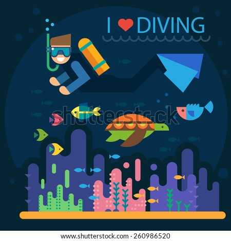 Summer vacation. Diving. Diver with fins and mask. Underwater world: fish, turtles, corals, algae, bottom. Vector flat  illustrations - stock vector