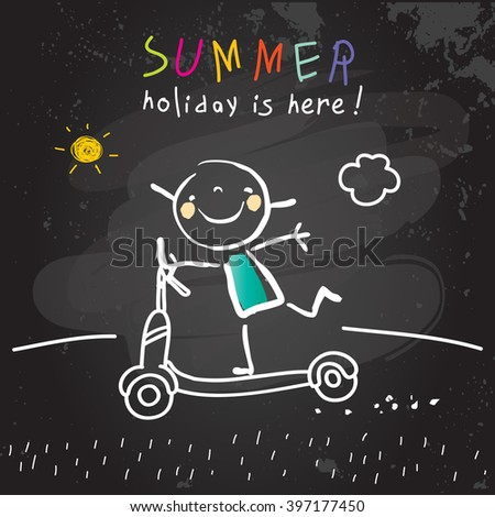 Summer vacation for kids at school. Girl on scooter. Chalk on blackboard sketch, doodle. Vector illustration.  - stock vector