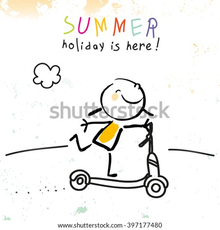 Summer vacation for kids at school. Girl on scooter sketch, doodle. Vector illustration.  - stock vector