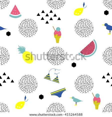 Summer vacation geometric seamless pattern. Ice cream, pineapple, swimsuit, watermelon. Summer beach. 80s - 90s  design style - stock vector