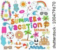 Summer Vacation Hawaiian Psychedelic Groovy Notebook Doodle Design Elements Set on Lined Sketchbook Paper Background - Vector Illustration - stock vector