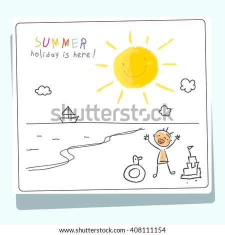 Summer vacation, holiday for kids at school vector illustration. Child tanning at sea. Sketch, doodle style.  - stock vector