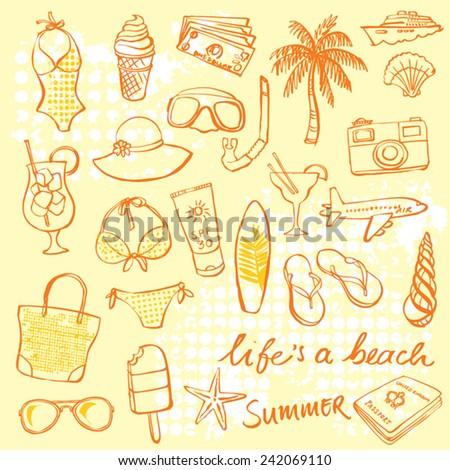 Summer vacation holiday icons vector set - stock vector