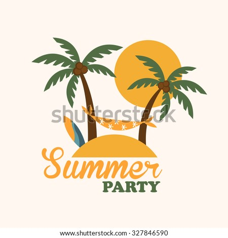 Summer vacation holiday tropical island with palm tree, surf board and hammock, flat vector illustration - stock vector