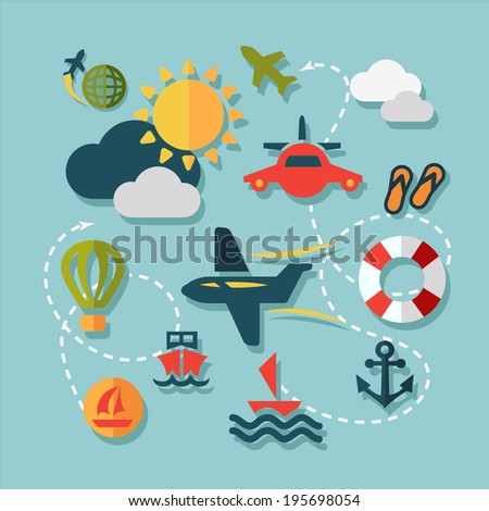 Summer Vacation Icons Set in Flat Design Style. - stock vector