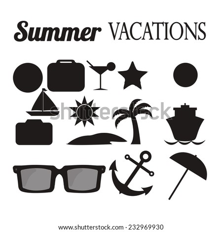 summer vacation illustration over color background