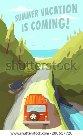 Summer vacation is coming. Vector illustration. - stock vector
