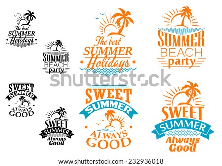 Summer vacation labels or banners with beach, ocean waves, palms, sun and text - stock vector