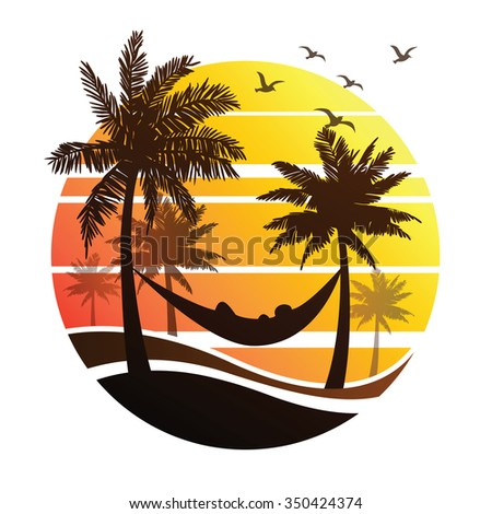 Sunrise Palm Trees On Tropical Island Stock Vector 293386712 Shutterstock