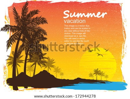summer vacation on tropical island  Sunset,  with Palm trees  - stock vector