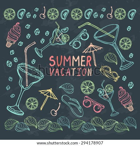 Summer vacation outline elements pattern on chalkboard. Design for card, cover, advertisement. Vector hand drawn illustration.