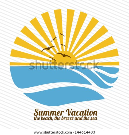 summer vacation over lineal background vector illustration