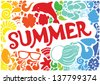 Summer vacation pattern elements and swirls. Hand-Drawn lettering. Vector illustration. EPS 10 - stock vector
