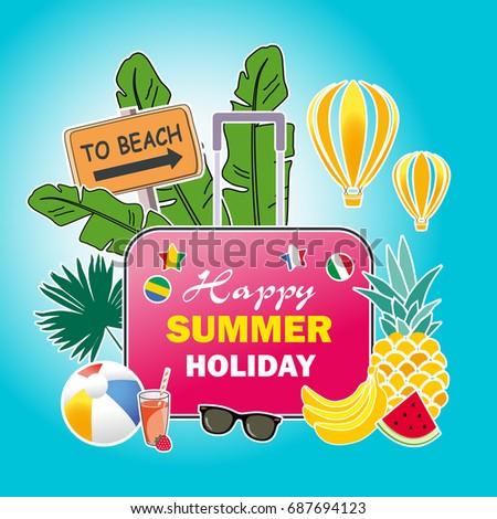 Summer Vacation Poster Design For Travel Vector Illustration Tropical Island Beach Resort