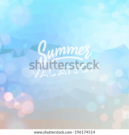 Summer vacation. Poster on tropical beach background. Vector eps10.