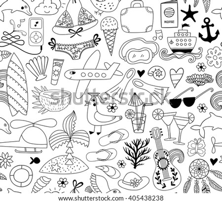 Summer vacation set doodle elements, seamless pattern. Travel drawing drawing. Vacation design vector illustration.  - stock vector