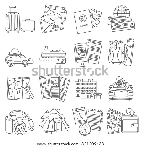 Summer vacation travel symbols pictograms collection of  luggage  passport and sightseeing route line  abstract isolated vector illustration - stock vector