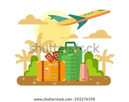 Summer vacation, travel theme with luggage and plane flying out on sunset background concept flat vector illustration. - stock vector