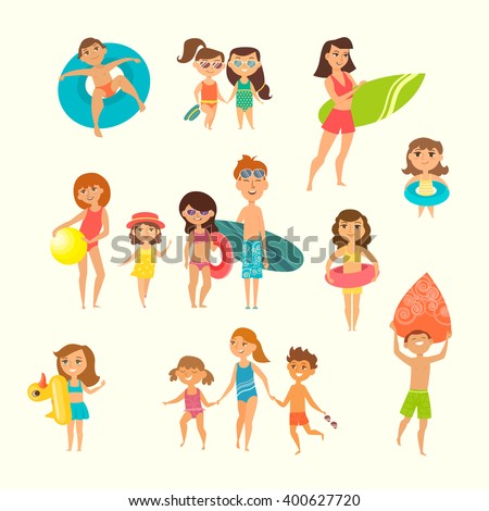 Summer vacation. Vector illustration of kids on the beach isolated. Children run to swim, holding hands. Boy and girl going surfing. Curly girl with rubber circle. Cartoon characters of young people. - stock vector