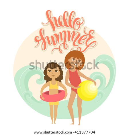 """Summer vacation. Vector illustration of kids on the beach isolated. Two girls with ball and rubber ring near the sead. Cartoon characters of young people. Hand drawn lettering """"Hello summer"""". - stock vector"""