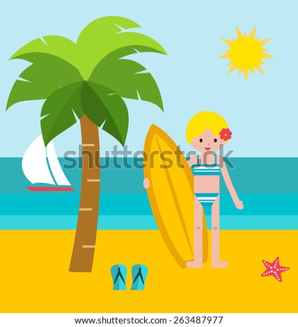 Summer vacation vector illustration. Surf girl holding her  surfboard at beach, in flat design style