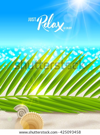 Summer vacation vector illustration. Tranquil and relax beach scene with palm tree branches, shells and sea horizon. Design for greeting card, poster, invitation, booklet or  brochure. - stock vector