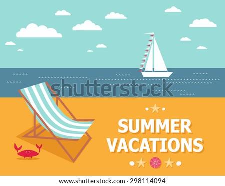 Summer vacations. Illustration of the summer relax travel - stock vector