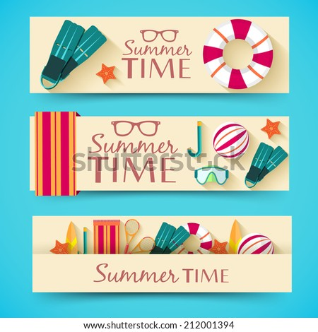 summer vecetion time horizontal banners vector illustration concept - stock vector