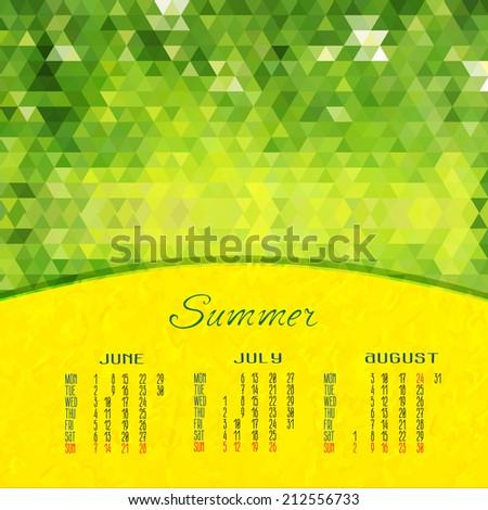 Summer Vector Calendar 2015 Abstract Illustration Stock Vector
