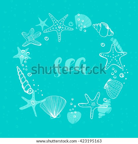 Summer Vector Circle Frame. Vector Background with Seashells, Sea Stars and Corals.