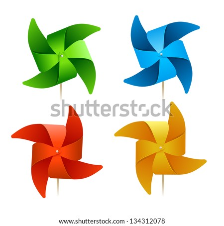 summer vector colorful windmills