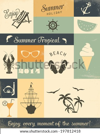 Summer vector elements - stock vector