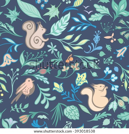 Summer Vector Forest Pattern | Seamless doodle sketch texture with wild flowers, plants and animals in soft pastel colors on blue background - stock vector