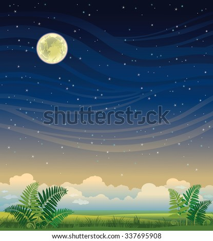 Summer vector landscape - green grass and fern on a night starry sky. Nature illustration.