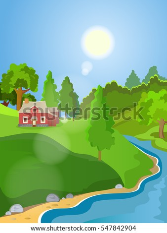 Summer vector landscape. Rural landscape. Green meadow stream. Clear skies and sunshine.