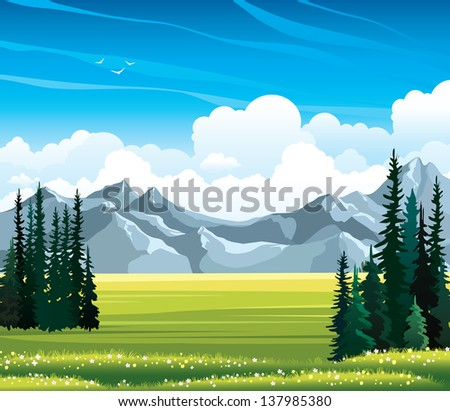 Summer vector landscape with green meadow, flowers, fir and mountains on a blue cloudy sky background.