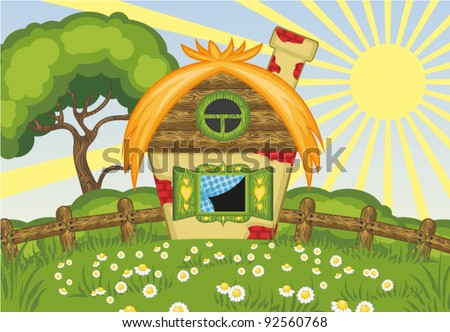 Summer vector landscape with house and tree - stock vector