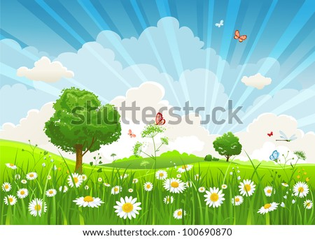 Summer vector landscape with trees and meadow of flowers eps10 - stock vector