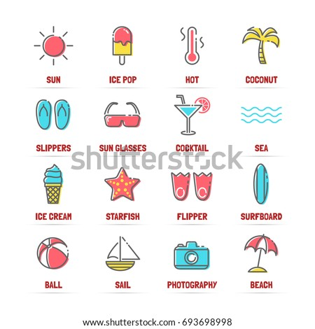 summer vector line icons with flat colors, minimal pictogram design, editable stroke for any resolution