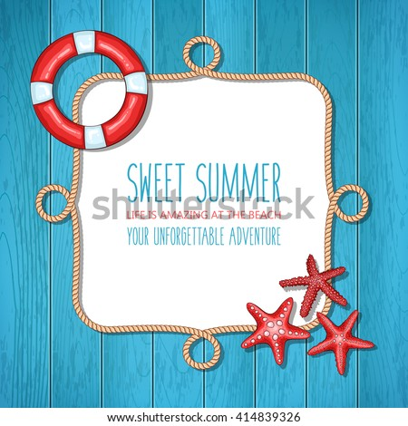 summer vector nautical rope frame on blue wooden background with lifebuoy and starfishes - Nautical Picture Frame