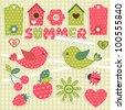 Summer.Vector scrapbook elements - stock vector
