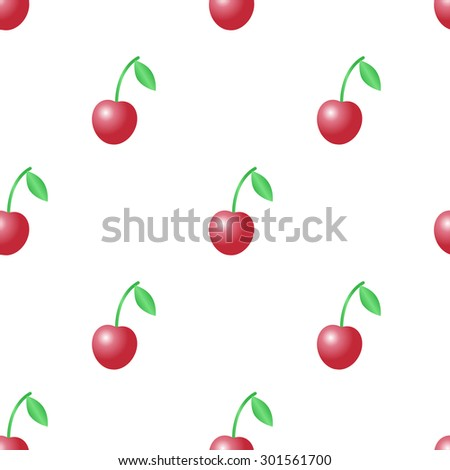 Summer vector seamless pattern with red cherries on the white background. - stock vector