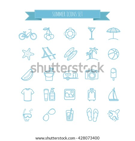 summer vector  thin line icons set for your design - stock vector