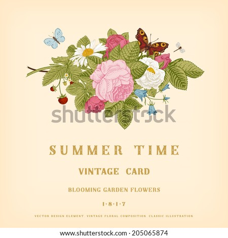 Summer vector vintage card with floral bouquet of garden pink roses, strawberries, bells on a beige background. - stock vector