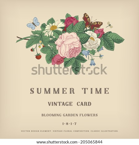 Summer vector vintage card with floral bouquet of garden pink roses, strawberries, bells on a gray background. - stock vector