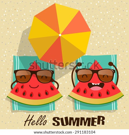 Summer. Vector watermelons cartoon character illustration.  - stock vector