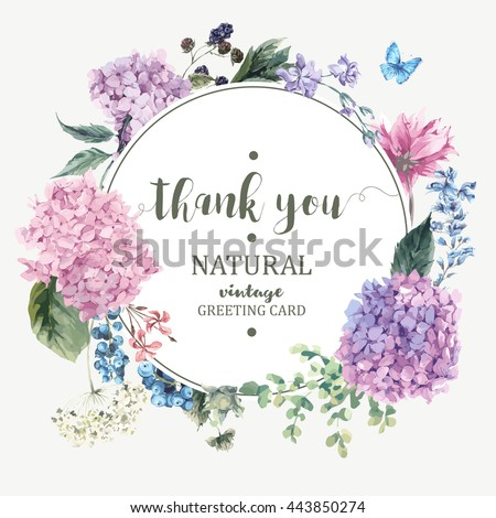 Summer Vintage Floral Greeting Card with Blooming Hydrangea and garden flowers, Thank you botanical natural hydrangea Illustration on white in watercolor style.   - stock vector