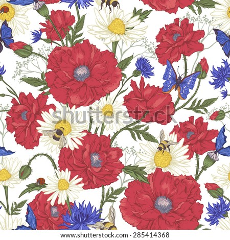 Summer Vintage Floral Seamless Pattern with Blooming Red Poppies Chamomile Ladybird and Daisies Cornflowers Bumblebee  Bee and Blue Butterflies. Vector Illustration on White Background - stock vector