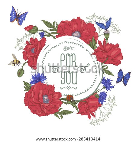 Summer Vintage Greeting Card with Blooming Red Poppies Cornflowers Ladybird Bumblebee Bee and Blue Butterflies. For You with Place for Your Text. Vector Illustration on White Background - stock vector